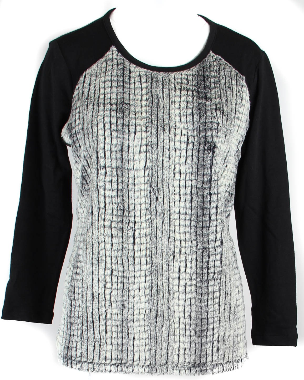 Style & Co. Womens Petites Polyester Faux Fur Front Knit Top Black PM