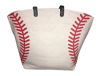 07199f7d07d6 XL White Baseball Canvas Tote Bag