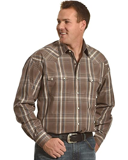 ebf948d589017 Stetson Men s Mineral Plaid Western Shirt at Amazon Men s Clothing ...