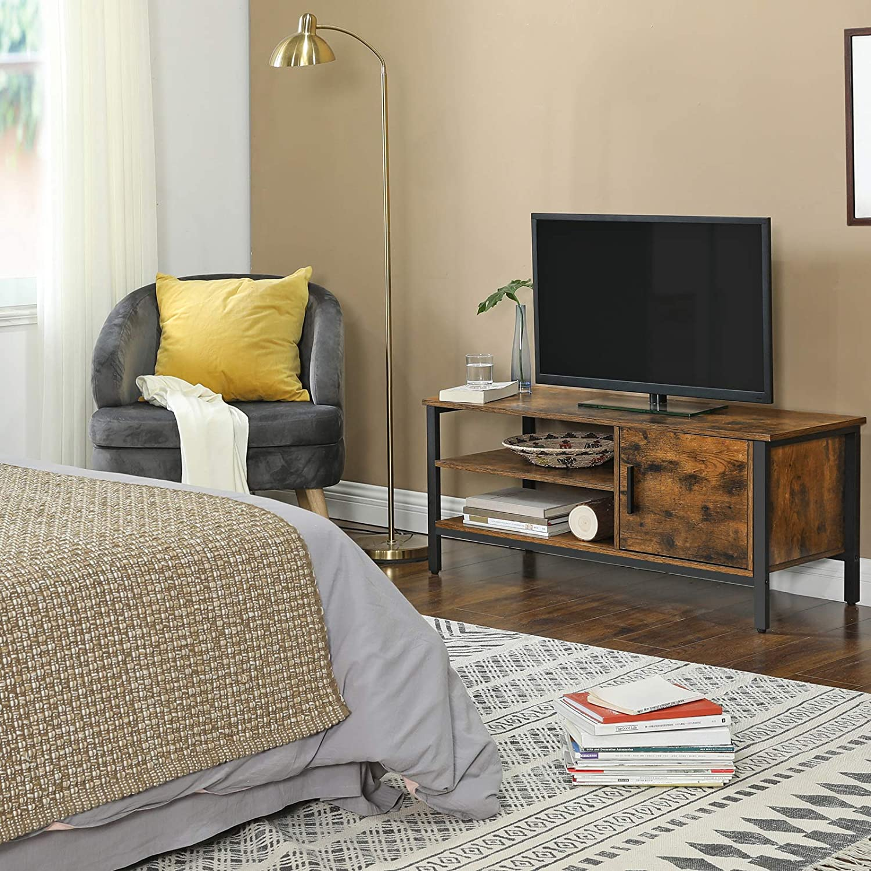 VASAGLE Mueble para TV, Armario para Televisores de hasta 48 Pulgadas, Soporte para TV, Mesa para TV con 2 Estantes, para Salón, Dormitorio, 110 x 40 x 45 cm, Diseño Industrial, Marrón