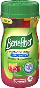 Benefiber Assorted Fruit Gummies for digestive health Prebiotic and Probiotic Supplement with natural fruit flavors 50 count