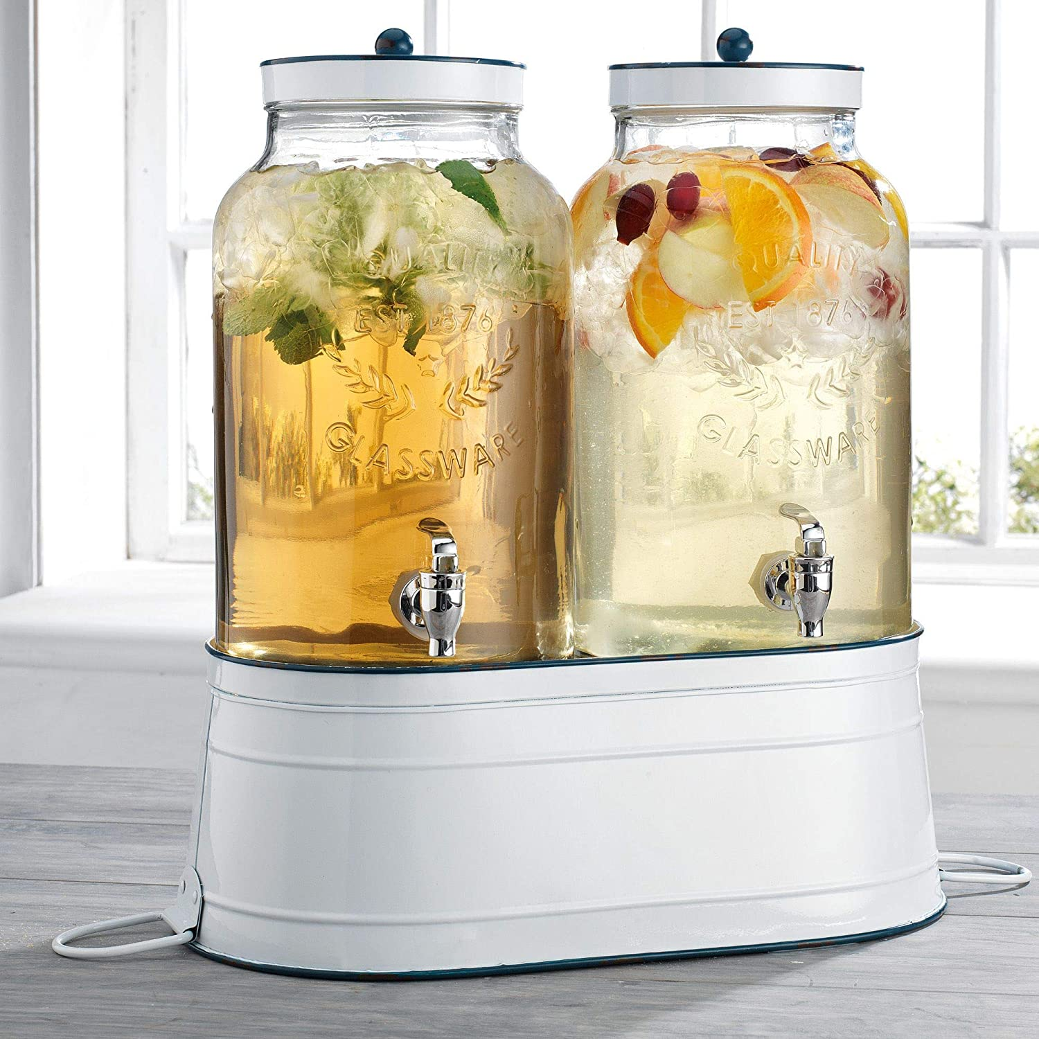 Home Essentials Fiddle and Fern Twin Gallon Dispenser with White Enamel Base