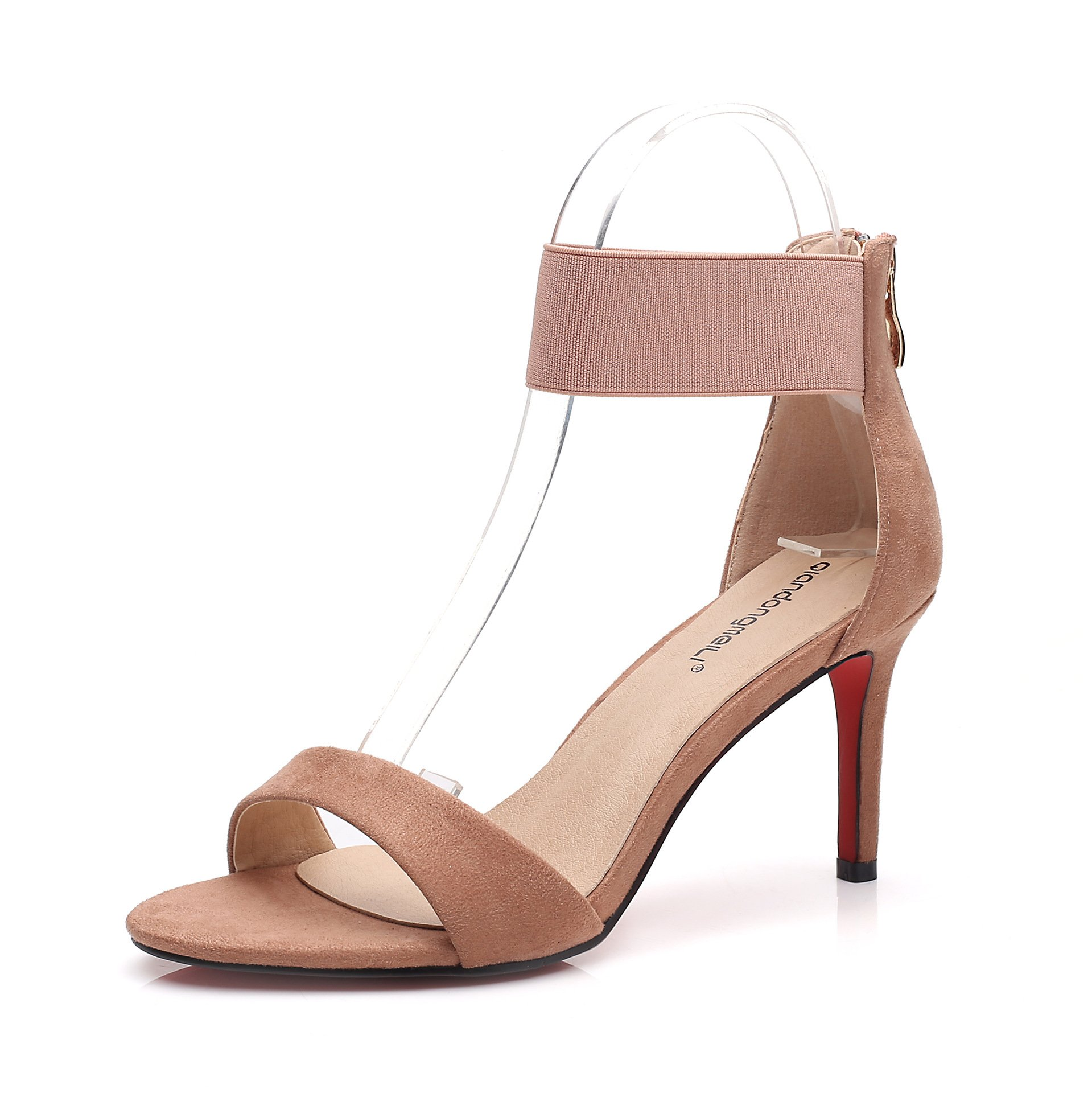 High-heeled sandals with high-heeled sandals women fine with velvet open toe, pink, 35