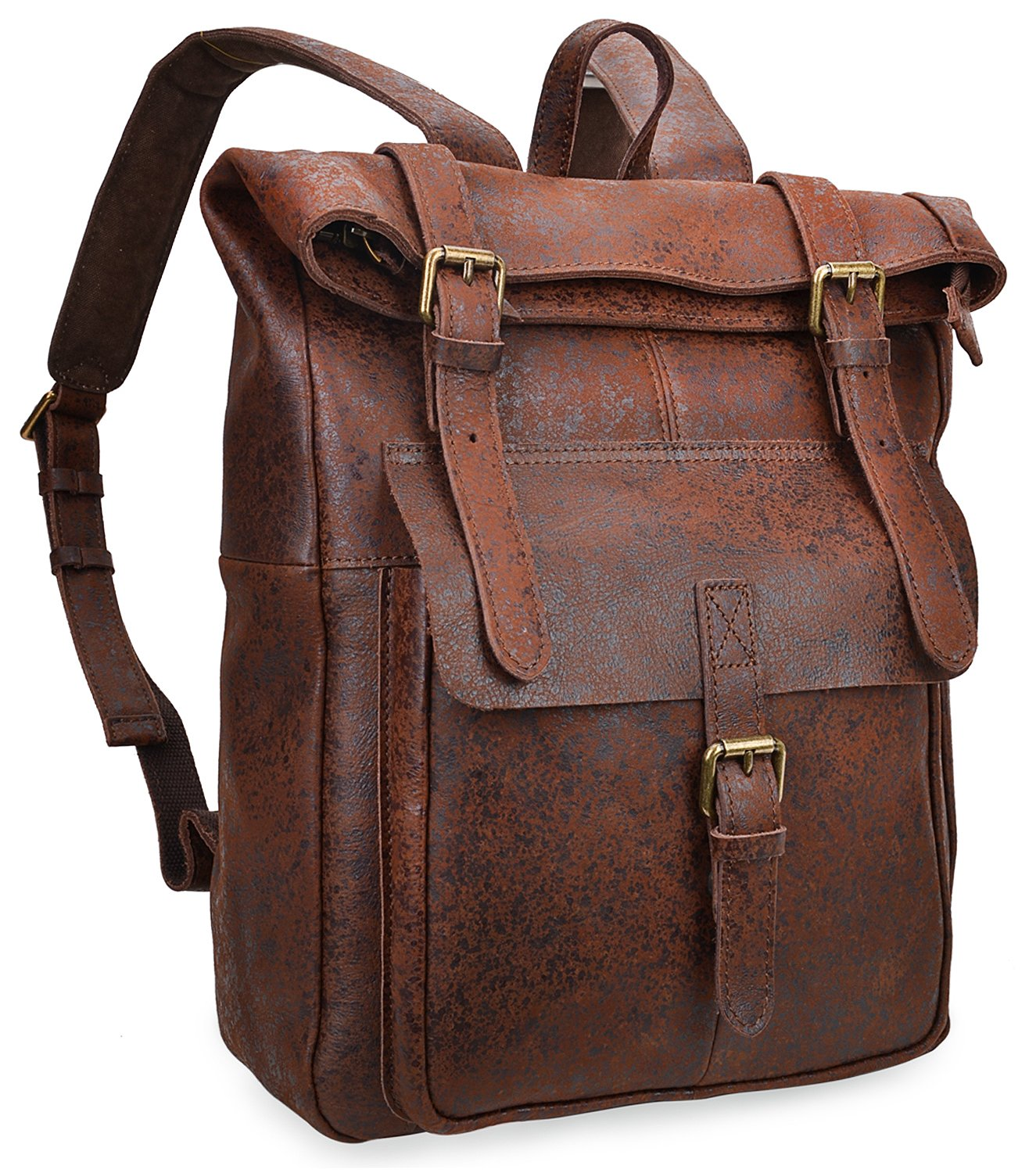 2a263c1ecd Amazon.com  ALTOSY Vintage Leather Backpack Travel Laptop Bags Casual  Daypack For Men Women 8186 (Dark Brown)  ALTOSY Co.