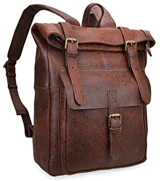d1245ca56 Amazon.com: ALTOSY Vintage Leather Backpack Travel Laptop Bags Casual  Daypack For Men Women 8186 (Dark Brown): ALTOSY Co.,Ltd
