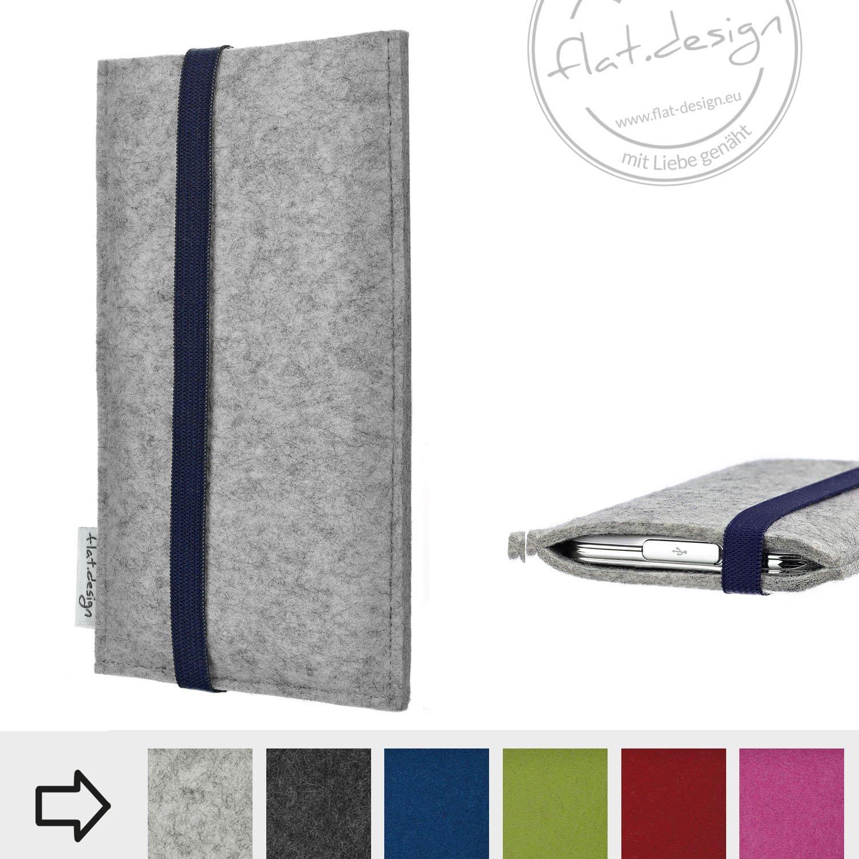 eBook Reader Schutzhülle COIMBRA mit blauem Gummiband (hellgrau) - Maßanfertigung der Tasche aus Wollfilz für alle eReader z.B. Kindle, tolino, Kobo, Sony, PocketBook, Bookeen uvm