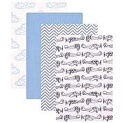 Hudson Baby 4 Piece Flannel Receiving Blankets, Airplane