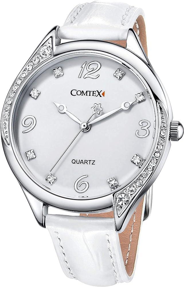 Reloj mujer blanco de moda con Correa de cuero blanco: Amazon.es ...