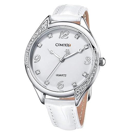 Reloj mujer blanco de moda con Correa de cuero blanco: Amazon.es: Relojes
