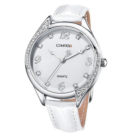 Reloj mujer blanco de moda con Correa de cuero blanco