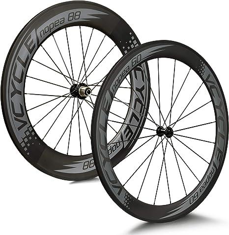 VCYCLE Nopea 700C Carretera Bicicleta Carbono Juego de Ruedas Tubular Delantera 60mm Trasero 88mm Shimano o Sram 8/9/10/11 Velocidades: Amazon.es: Deportes y aire libre