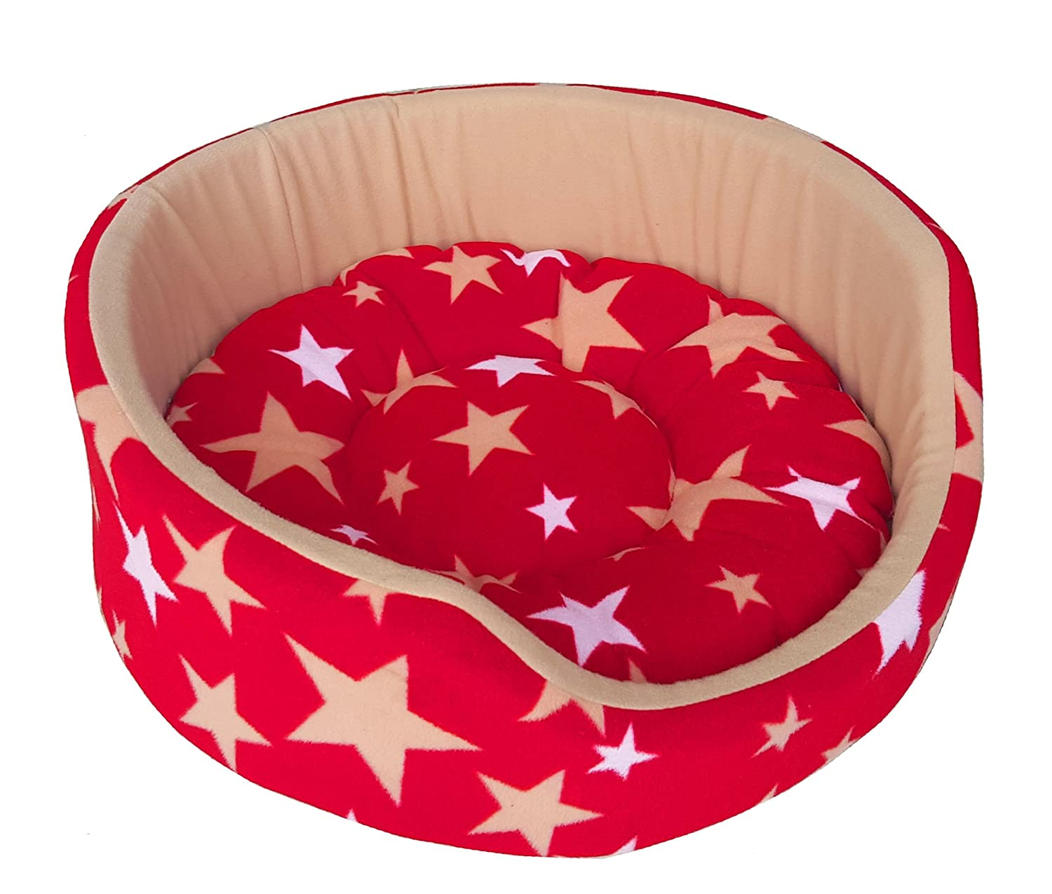Fluffy's Luxurious Soft Red & Beige Star Print Dog Cat BedBoth Side(Export Quality)-
