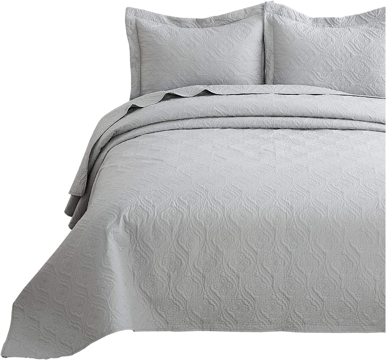 Bedsure Quilt Set Light Grey King Size (106x96 inches) - Flower Petal Design - Soft Microfiber Lightweight Coverlet Bedspread for All Season - 3 Pieces (Includes 1 Quilt, 2 Shams)
