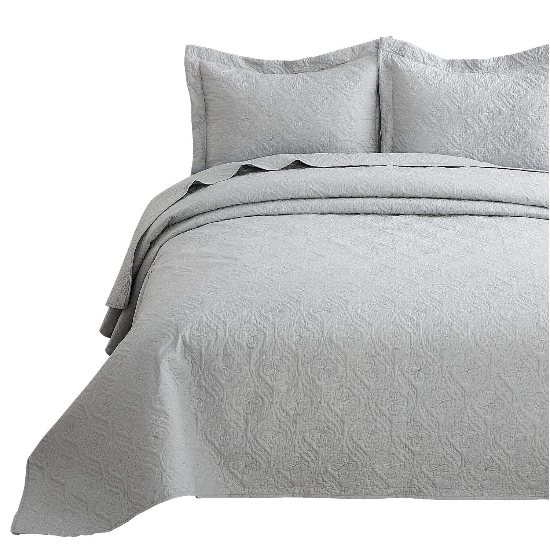 Bedsure Quilt Set Light Grey Queen/Full Size (90x96 inches) - Flower Petal Design - Soft Microfiber Lightweight Coverlet Bedspread for All Season - 3 Pieces (Includes 1 Quilt, 2 Shams)
