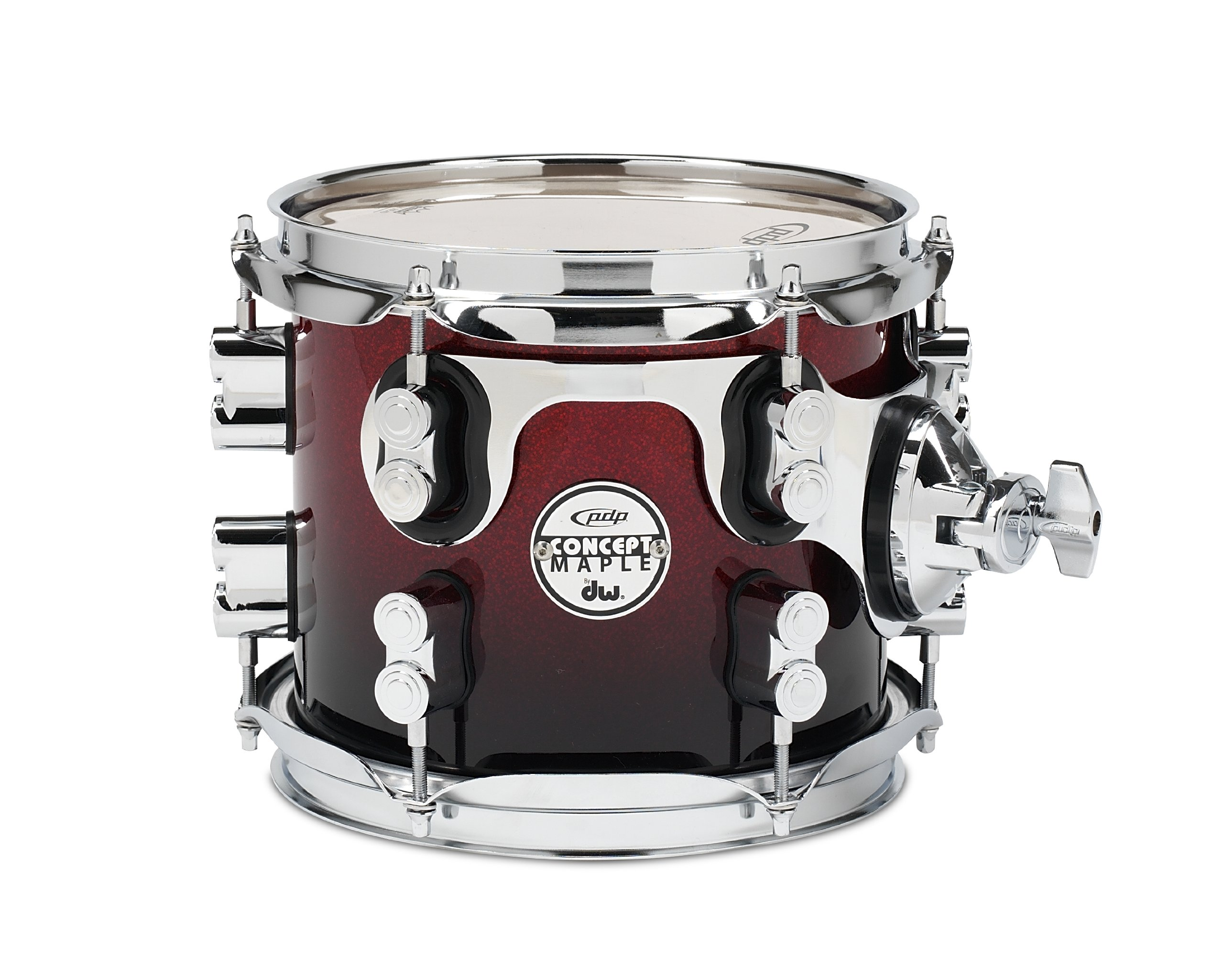 Pacific Drums PDCM0708STRB 7 x 8 Inches Tom with Chrome Hardware - Red to Black Fade