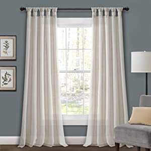 Lush Decor Light-Linen Burlap Knotted Tab-Top Window Curtain Panel Pair (95