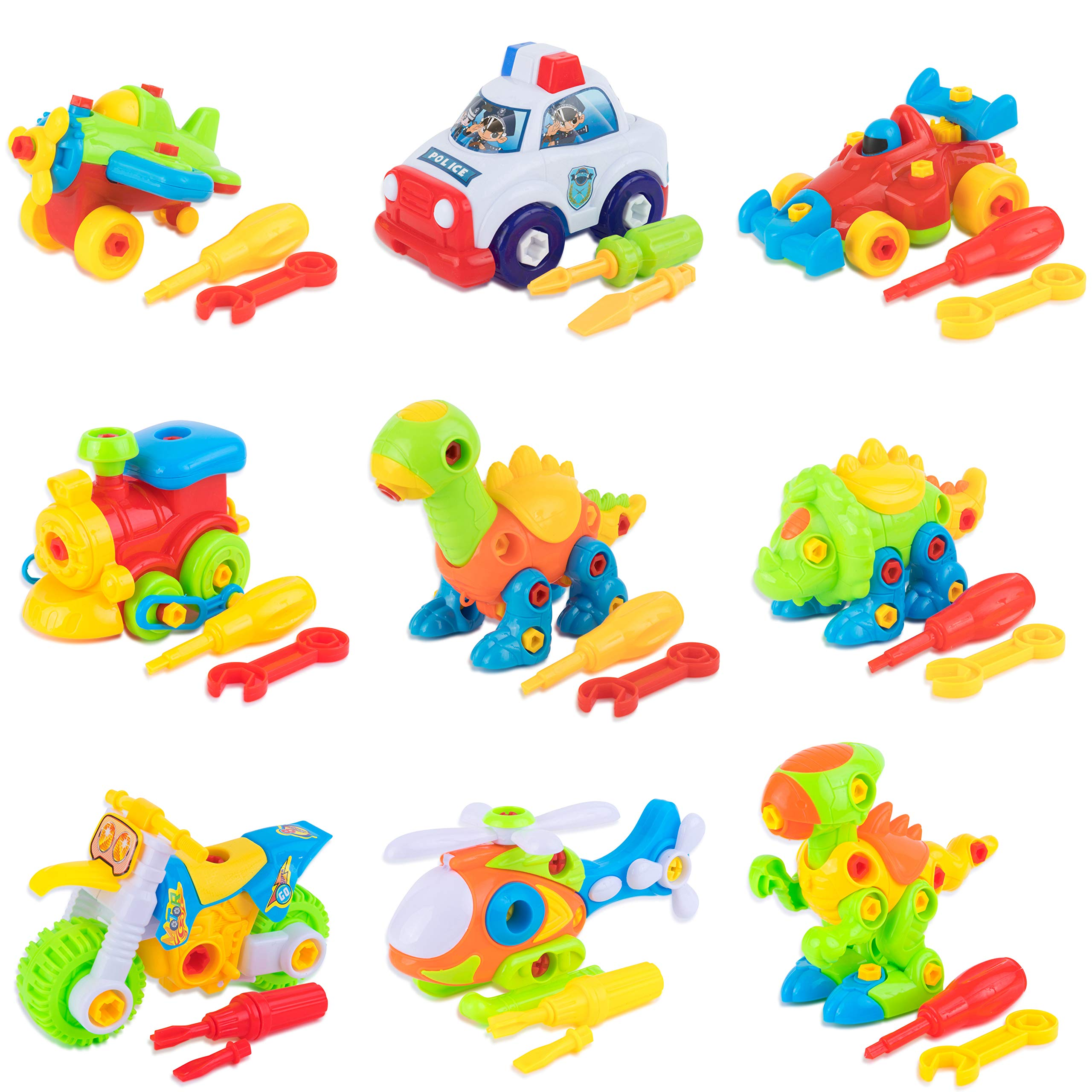 Toy To Enjoy Take-Apart Toys with Tools - Dinosaur & Vehicle Construction Building Play Set - for Child Development & Creativity - Pack of 9
