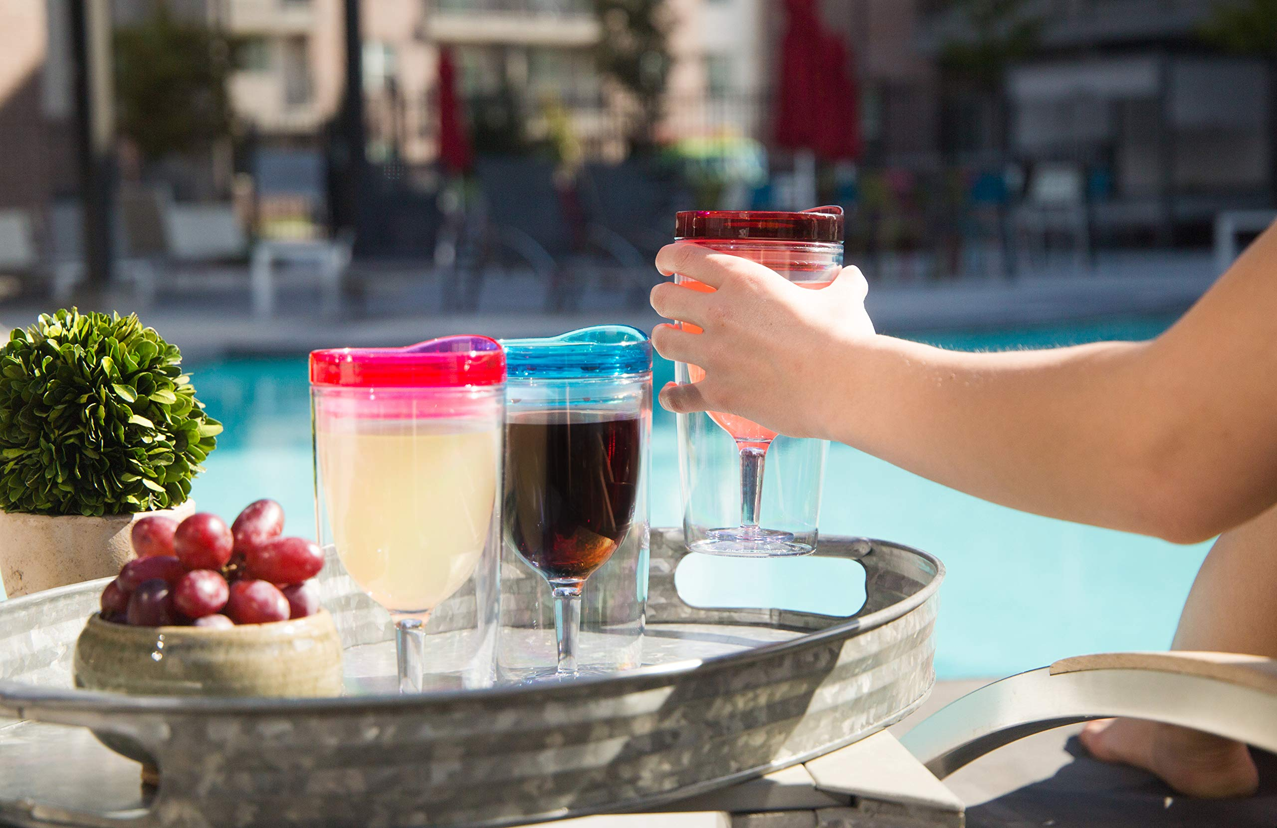 Insulated Wine Tumbler With Lid (SET OF 10) +BONUS Name Decals | Outdoor Acrylic Plastic Wine Glasses | 10oz Cup Tumblers in 10 Colors - Adult Sippy | Unbreakable Stemless Wine Glass by STRATA CUPS (Image #4)