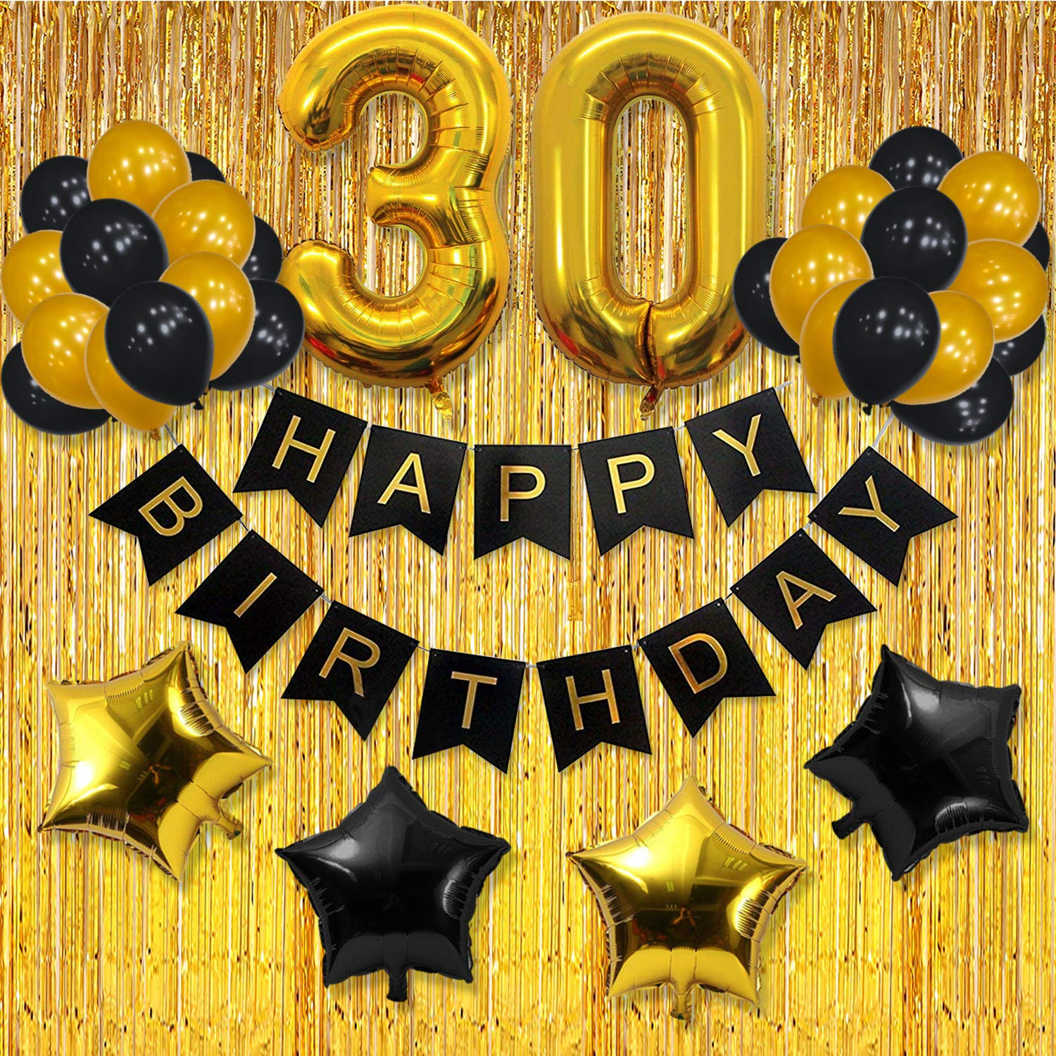 yotruth 30th Birthday Decorations with Happy Birthday Banner Balloons -Black and Gold 30th Birthday for Him and Women