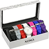 XOXO Women's Watch with Seven Interchangeable Silicone Watch Straps - Complete Set XO9043