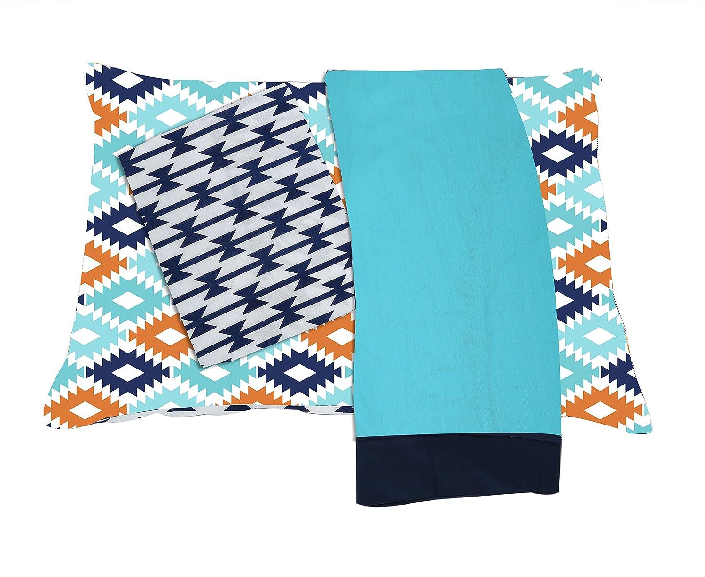 Bacati Emma Aztec 3 Piece Cotton Percale Toddler Sheet Set, Coral/Mint/Navy AZCMNA3RSS