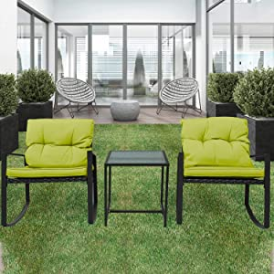 Pyramid Home Decor 3-Piece Rocking Bistro Set - Durable & Stylish Synthetic Wicker Outdoor Furniture - Glass Coffee Table with 2 Chairs for Balcony, Patio & Porch - Black Metal, Soft Green Cushions