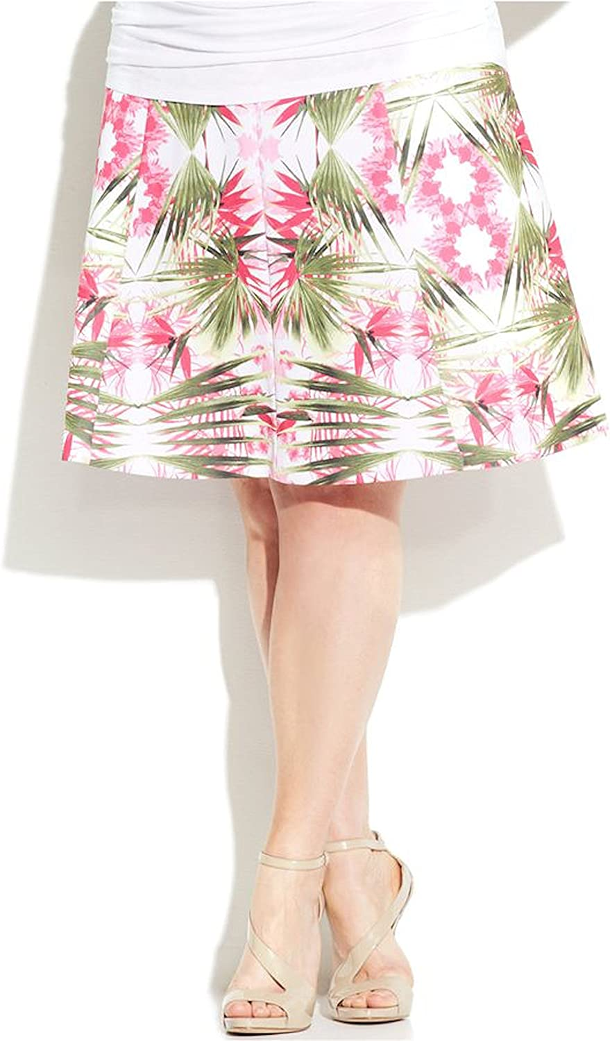 INC Womens Plus Pink Floral Knee-Length Tropical A-Line Flare Skirt 3X 2652