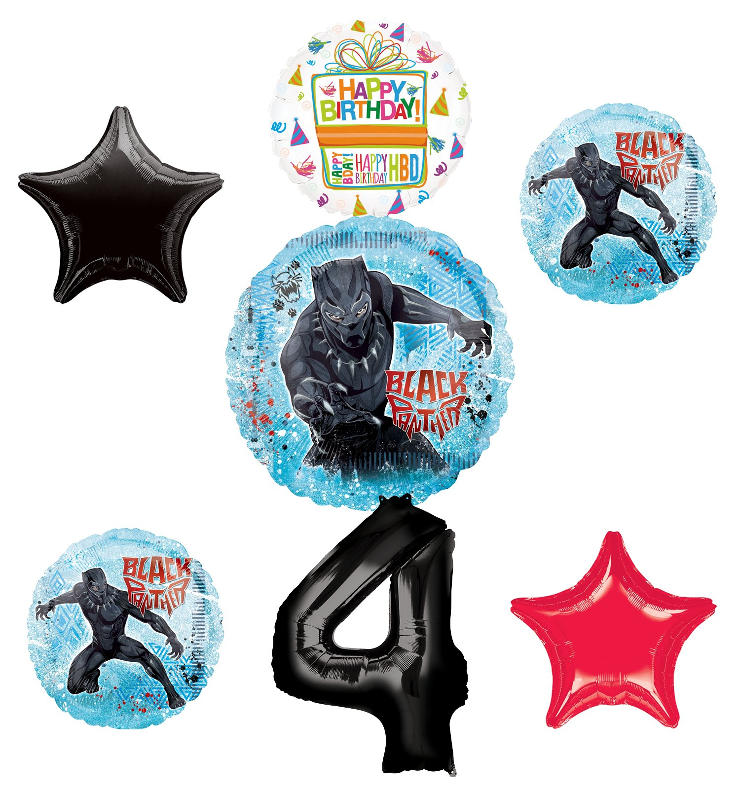 Black Panther Party Supplies 4th Birthday Balloon Bouquet Decorations