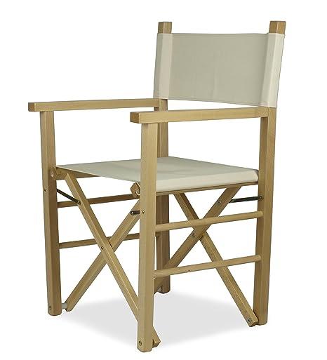 ArredaSì Sedia da regista pieghevole legno naturale e cotone ecru ...