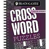 Brain Games - Large Print: Crossword Puzzles (Dark Gray)