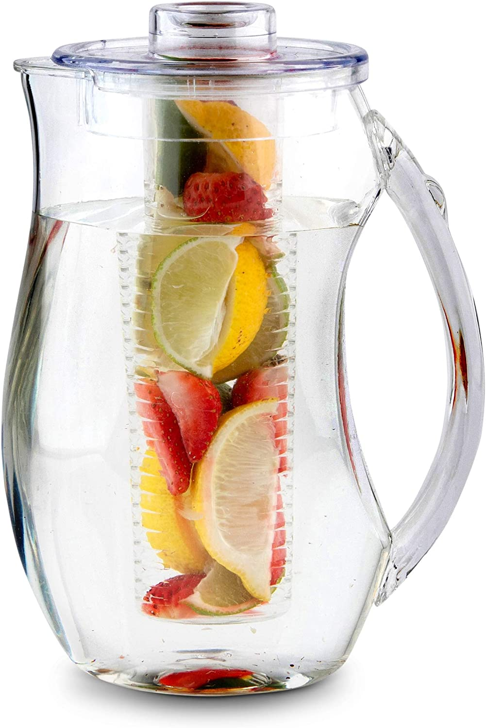 Homeries Fruit Infuser Water Pitcher with 3 Tubs (2.9 Quart / 93 Oz) – Shatterproof Acrylic Infusion Jug for Iced Tea, Juice, Beverages, Water, Lemon, Fruit & Herbs – BPA Free