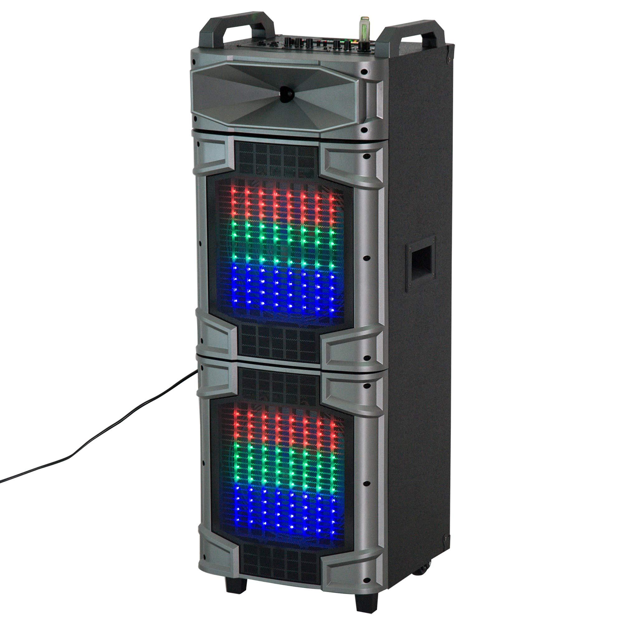 HomCom 80 Watt Portable Remote Control LED Bluetooth Dual Speaker System With Wheels
