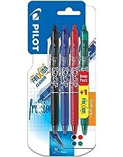Pilot - Blister 3+1 FriXion Ball Clicker 0.7 - Roller effaçable - Noir/Bleu/Rouge/Vert - Pointe moyenne