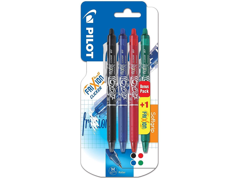 Pilot Frixion, inchiostro Gel, confezione da 3, temperatura, 1 con penna a sfera a punta media Frixion Clicker
