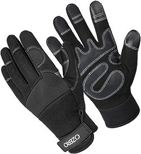 Garden Gloves Synthetic Leather Work Glove for Women and Men (Black,Medium)