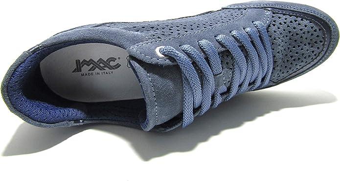 Scarpe da donna IMAC in camoscio forato estive zeppa interna casual sneakers blu