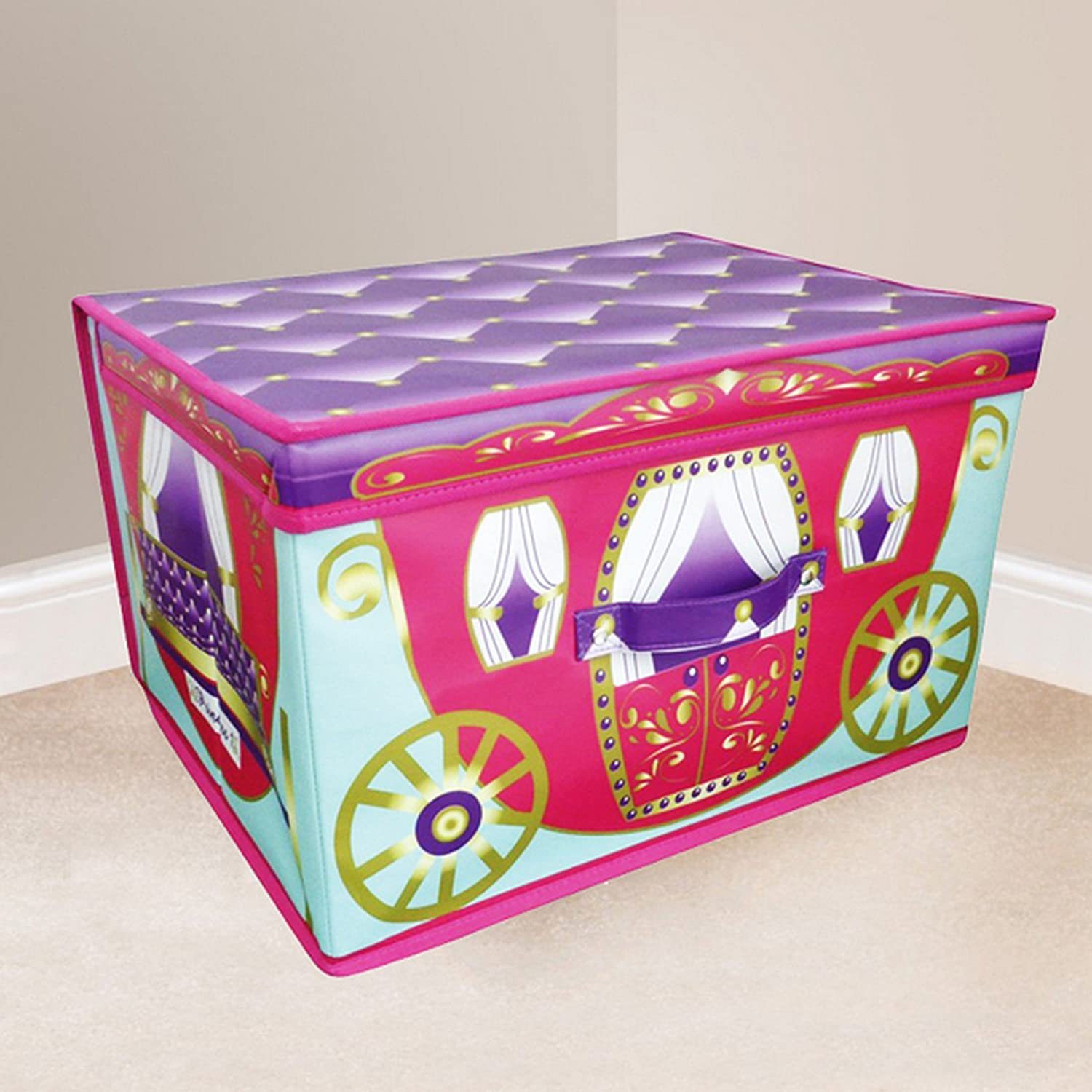 Jumbo Large Toy Book Bedding Laundry Kids Childrens Storage Box Chest Princess Pink Carriage with Purple Lid