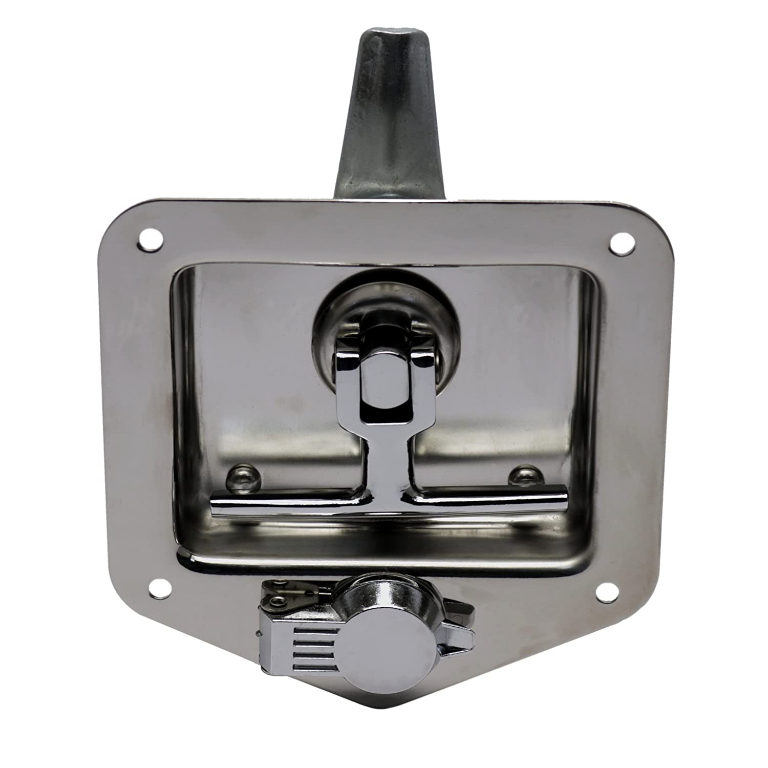 Folding T Handle Latch RV Camper Truck Trailer Toolbox TCH Hardware Stainless Steel T-Handle Cam Latch with Mounting Studs /& Lock Dust Cover