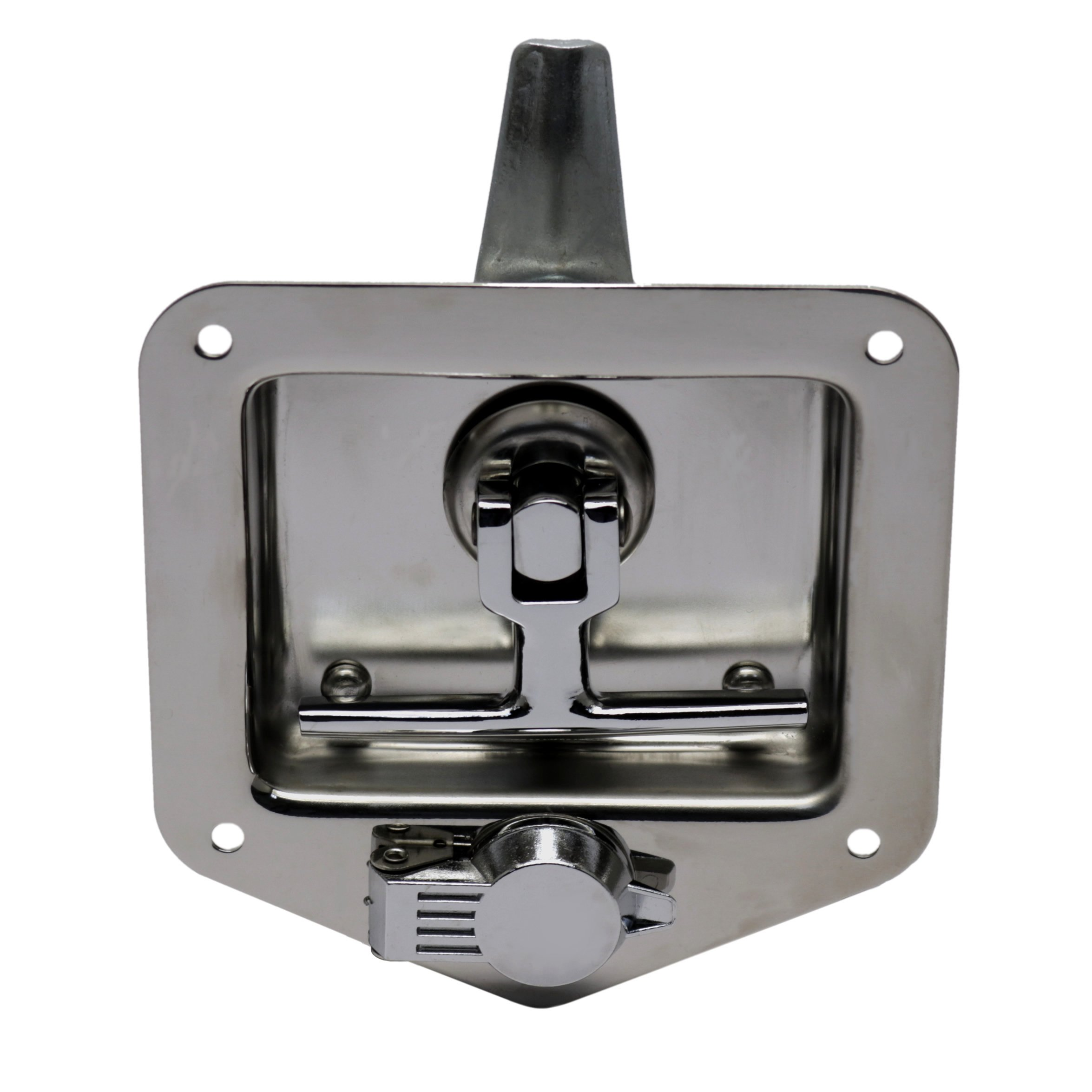 TCH Hardware Stainless Steel T-Handle Latch with Mounting Holes & Lock Dust Cover - Folding T Handle Latch RV Camper Truck Trailer Toolbox