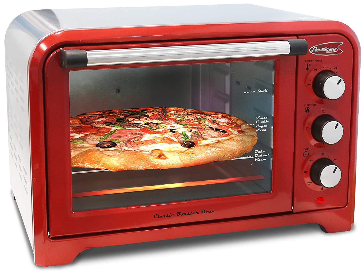 Americana by Elite ERO-2600R Vintage Diner 50 s Retro 12 Pizza Countertop Toaster oven, Bake, Broil, Toast, Temperature Control Adjustable Timer, 6 slice, Red