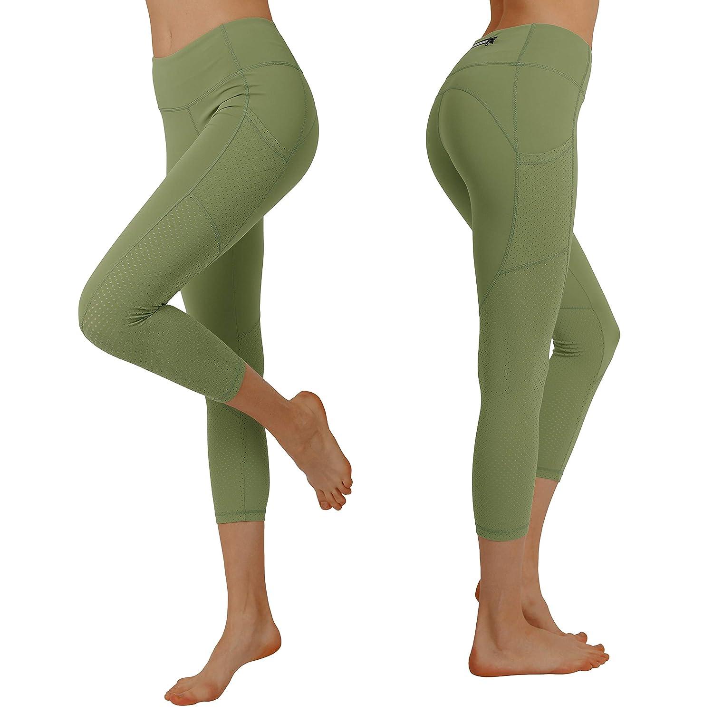 7244ee52a8 Sage Cityoung Women's High Waist Power Flex Yoga Capri Legging Tummy  Control Workout Running Pants with