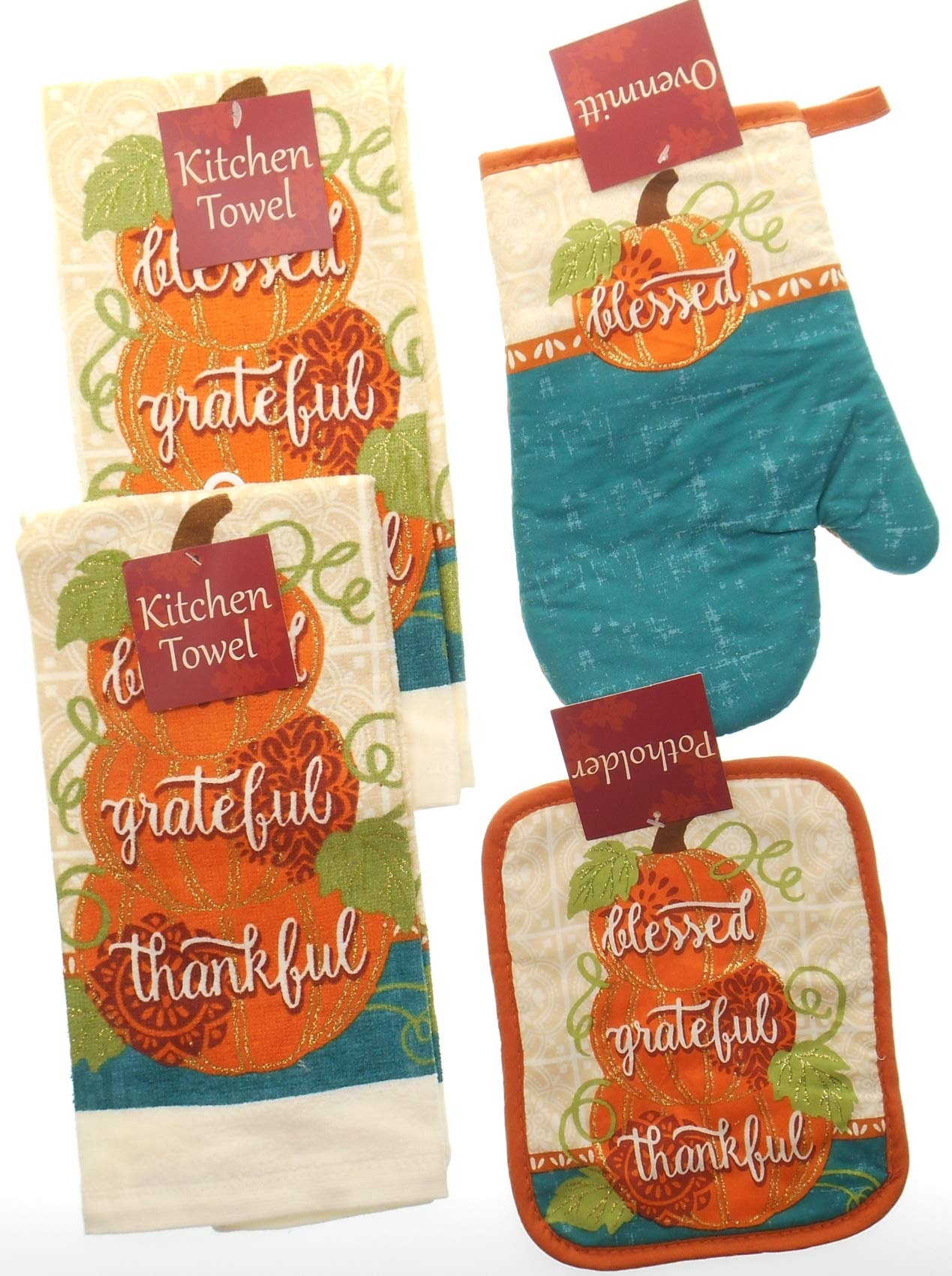 Fall Kitchen Towel Set - Blessed,Grateful, and Thankful on Pumpkins and accented with Teal and Glitter. Featuring Bundle of 4 includes 2 Towels, 1 Oven Mitt and 1 Pot Holder .Fall Kitchen Towels Set.