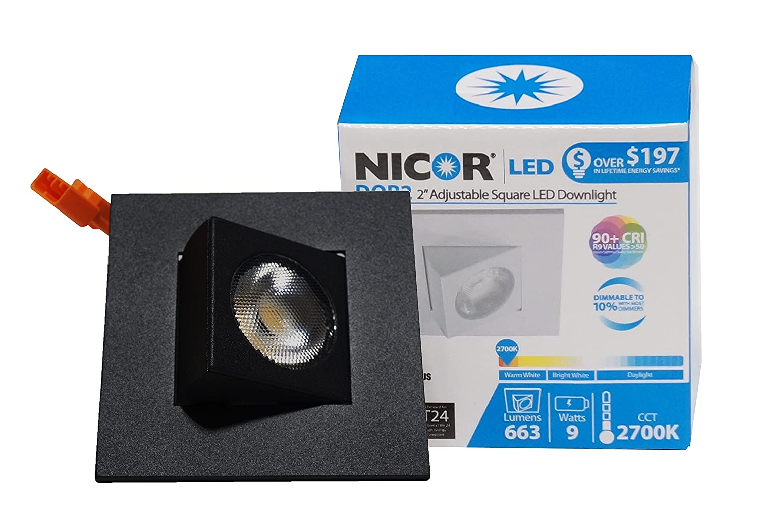 DQR2-AA-10-120-3K-OB NICOR Lighting 2-Inch Adjustable Square Eyeball 3000K LED Downlight Fixture for 2-Inch Recessed Housings Oil-Rubbed Bronze