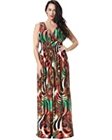 Jusfitsu Women's V-neck Floral Printed Beach Boho Maxi Dress Plus Size