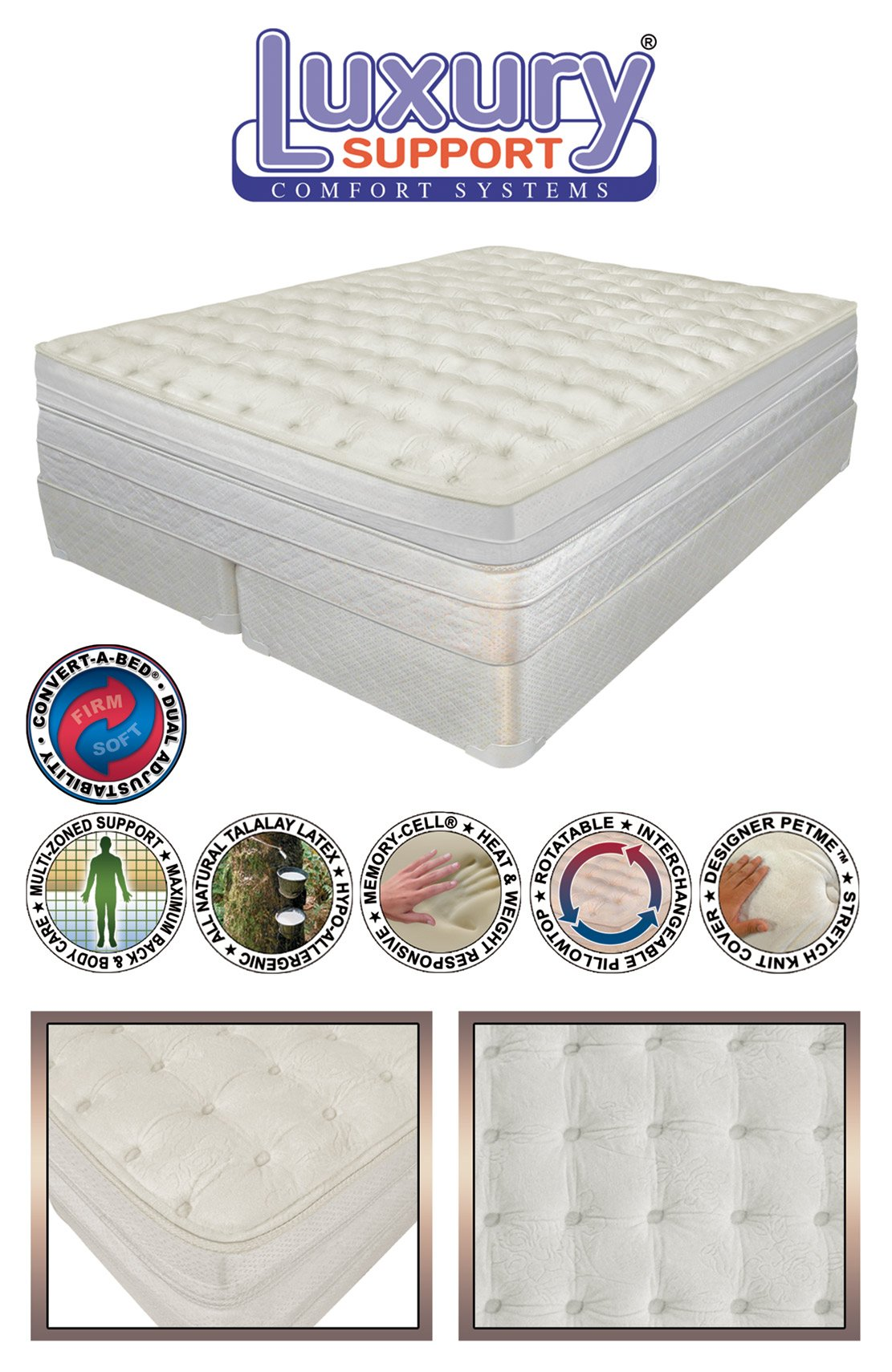 California King Size INNOMAX MEDALLION ADJUSTABLE SLEEP AIR BED MATTRESS. Includes Dual Remotes with 50 Number LED Display by INNOMAX