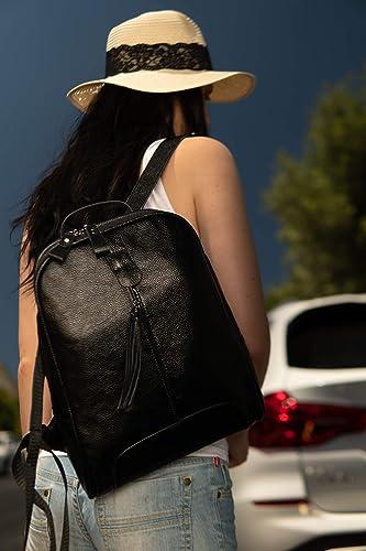VanGoddy Chloe Onyx Black Genuine Leather Every Day Carry Carryall Fashion Backpack