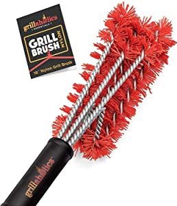 Grillaholics Essentials Nylon Grill Brush - Bristle Free Alternative - Nylon Cold Scrub Technology Cleans Between The Grates - Lifetime Manufacturer's Warranty