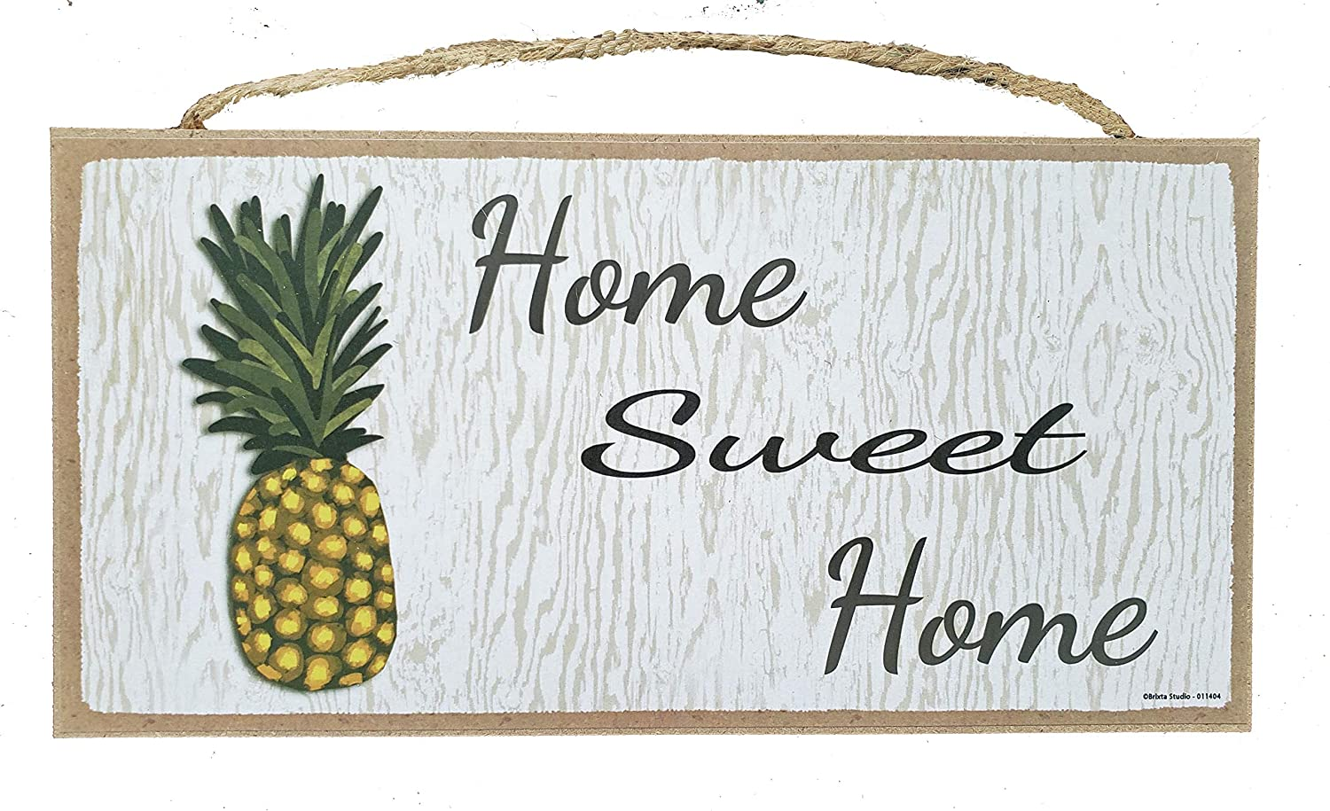 Home Sweet Home Pineapple Wall Decor Plaque - Small Hanging Wood Sign - 10 x 5 Inches
