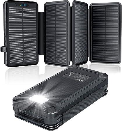 Cargador Solar Portátil a Prueba de Agua Elzle 26800mAh, Power Bank con 4 Paneles Solares, Puertos USB Duales de 5V / 2.1Acompatible con Teléfonos ...