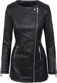 Damen Mantel Kunstledermantel Bikerjacke Übergangsjacke Schwarz D 303 S XL